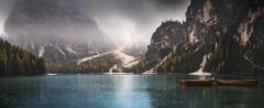 nature Landscape Panoramas Lake Fall Mountain Boat Rain Mist